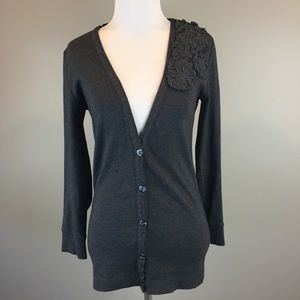 J. Crew Gray V Neck Button Front Cardigan